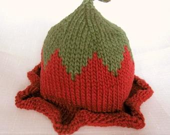 Flower Fairy Autumn Hat, Knit Cotton Baby Hat great photo prop