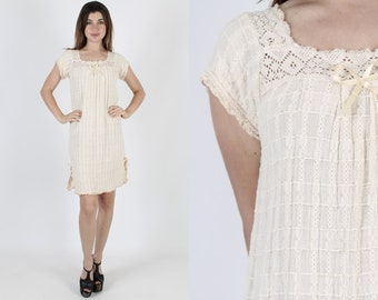 Ivory Dress Crochet Dress Gauze Dress Ethnic Dress Vintage 70s Lace Boho Hippie Festival Bohemian Summer Womens Sun Plain Mini Dress S