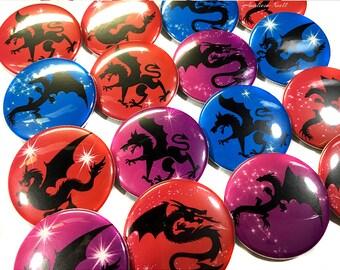 "Dragon Magnets, 1.5"", Button Magnet, Dragon Button, Dragon Gift, Dragon Theme, Red Dragon, Purple Dragon, Dragon Decor, Dragon Party Favor"