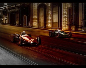 Automotive Art Grand Prix Monaco 16x24 Metallic Print