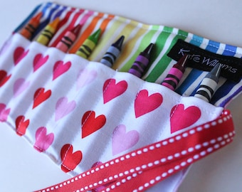 Crayon Roll-Hearts Crayon Roll-Crayon Holder-Party Favor-Girl Birthday Gift-Crayon Organizer-Kid Craft-Kid Toy-Summer Travel Quiet Activity