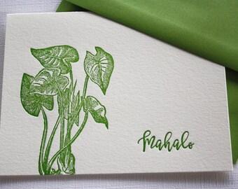 Kalo Taro Hawaii Letterpress Cards Aloha Mahalo Forest Green