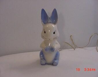 Vintage Ceramic Blue & White Bunny Rabbit Night Light  18 - 1065