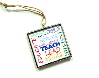 Teacher ornament, mentor, educate, classroom decor, teach inspire, teacher appreciation gift, typography word art