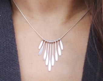 Paddle Swage Necklace, Sterling Silver