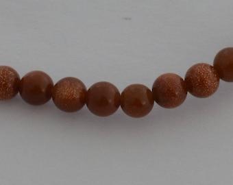 20 beads Gemstone round 4mm Brown sparkly - Ref: PG 2015
