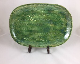 Ceramic Platter, Appetizer Serving Platter, Handmade, Housewarming gift, Wedding gift, Home Decor, Green Serving Platter, Decorative Platter