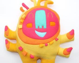 JUMBO glücklich Sprite-Plüsch, Kreatur, Stuffie, huggable, im Taschenformat, Plüschtier, süß, groß, gelb, Stofftier