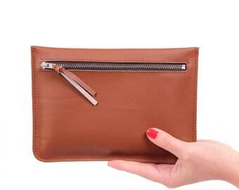 """Flat clutch """"Feli"""" brown//Genuine Leather"""