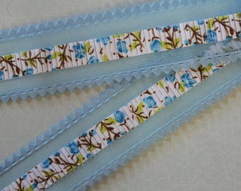 very pretty Blue Ribbon flower with tulle