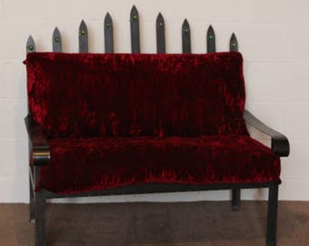 A Gothic Industrial Wrought Iron & Upholstered Two Seat Sofa Bench