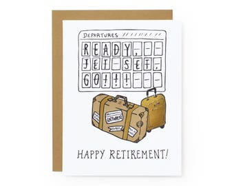 Jet Set Retirement - letterpress card