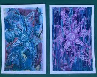 Twin Flames - Reflection & Reciprocation Watercolor Print 8x10 or 4x6