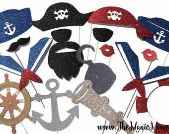 Photo Booth Props ~ DELUXE Pirate and Sailor Prop Set ~ 17 props on a stick - Birthdays, Weddings, Parties