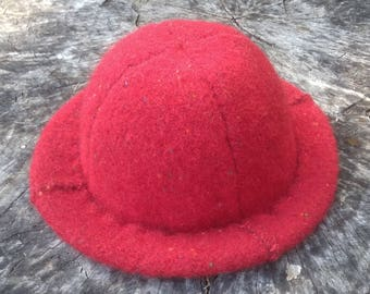 Two-ply Red Felt Wool Hat with Soft Rim and Cashmere Sweatband