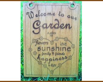 A Wooden Garden Sign