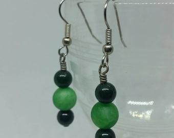Green Marble Earrings with Surgical Steel Ear Hooks