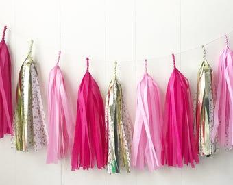 Free Shipping - Pink and Gold Star Tassel Garland - Wedding Decor - Room decor - Nursery Decor - Photo Prop