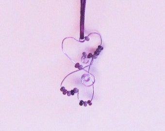 Wire and Beads Double Heart Pendant on Satin Cord