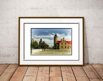 Mackinac Lighthouse-Michigan Lighthouse-Lighthouse Print-Landscape Photo-Fine Art Print-Horizontal Print-Mackinac Bridge-Old Mac Lighthouse