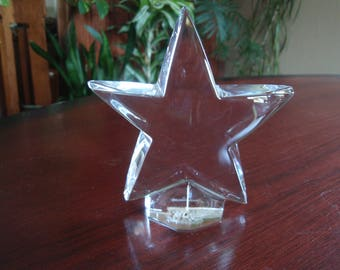 Signed Bacura Crystal Glass Star Home décor PaperweightChristmas Star a2601