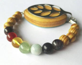Bellabeat leaf bracelet chakra bead bracelet to wear with Bellabeat Leaf wooden beads full chakra