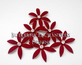 Red Wedding Hair Piece, Bridal Accessories, Bridesmaid Hair Flowers - 6 Dark Red Harlow Spider Orchid Flower Hair Pins