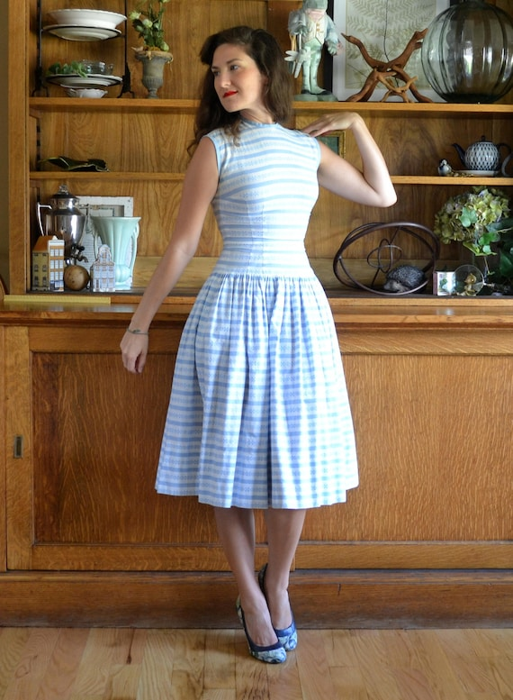 Daydreamer Dress | vintage 50's blue cotton fit and flare dress | dropwaist xs