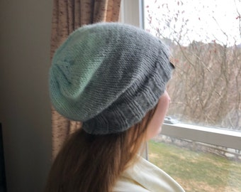 Slouchy Beanie - GREY WITH MINT