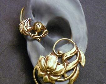 Flower and Leaf  Ear Wrap  -  HIBISCUS   -  Intricate Brass Ear Cuff Wrap