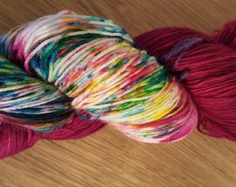 100g 4 Ply BFL/Nylon Hand Dyed Sock Yarn - Raspberry Surprise