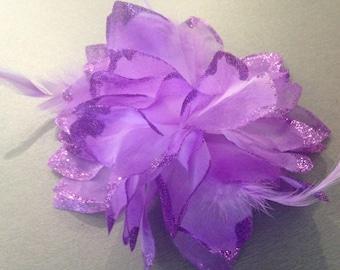 Fleur Mauve hair clip and elastic is 14 cm