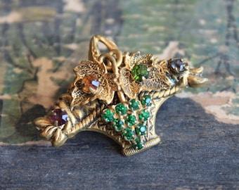 Antique Paste Fruit Basket Brooch / Edwardian Jewelry