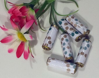 "Hand-rolled 1"" paper tube beads - Teal/Gold Dots 1 - set of 6"