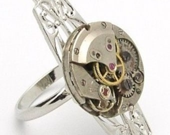 STEAMPUNK RING-FABULOUS ART DECO ADJUSTABLE STEAMPUNK RING with LONG SILVER FILIGREE