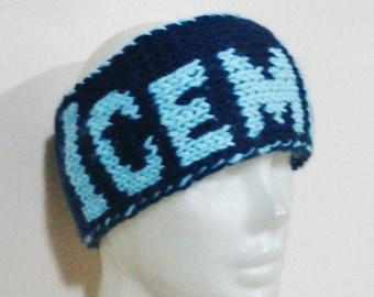 Hand Knit Headband for Men Head band with ICEMEN word headband in blue