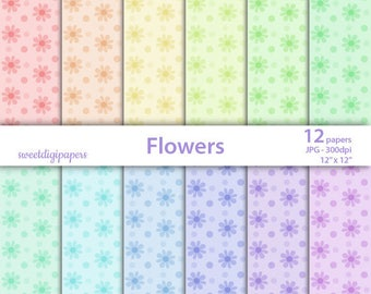 Floral digital paper, rainbow scrapbook, flowers paper pack, floral rainbow background