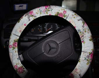 Vintage Aqua and  pink  Flowers Wheel Cover. Eiffel Tower Paris  Wheel Cover .Steering Wheel Cover .