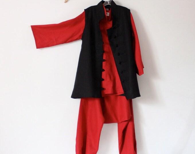 linen outfit blouse with long VEST chipmunk drop crotch pants handmade to measure petite to plus size