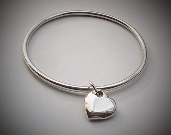Sterling Silver Bangle With Heart Charm. UK Handmade