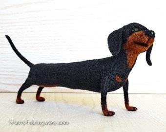 Handfelted Dachshund dog, Sausage dog soft toy, Dachshund interior Home decor Handmade gift, black, brown. Made To Order