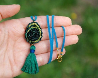 Paisley necklace, Ethnic fiber pendant, Turquoise tassel jewelry, Soutache black emerald green golden, gypsy hippie flower, brocade glitter