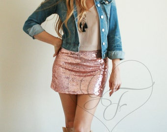 Sequin Mini Skirt - High Waist A-line - Blush Pink