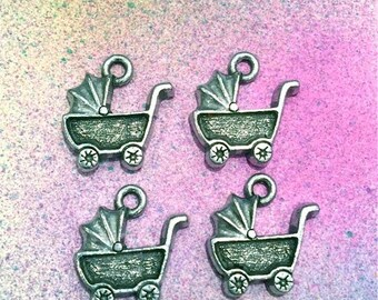 Baby Carriage  - 4 pieces-(Antique Pewter Silver Finish)