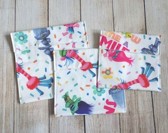Trolls and sprinkles reusable snack bags