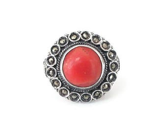 Sterling Silver Coral Marcasite Ring - Salmon Coral, Gray Marcasites, High Relief Setting, Sterling Ring, Vintage Ring, Size 5.5