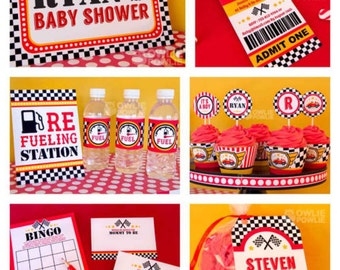 Race Car BABY Shower Party Printable Package & Invitation, INSTANT DOWNLOAD, You Edit Yourself with Adobe Reader