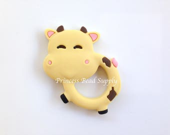 Brown Cow Silicone Teether,  Brown Cow Teether,  Cow Animal Teether,  Sensory Teether, Cow Silicone Pendant, Cow Teether