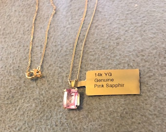 Natural pink sapphire 14k gold necklace pendant