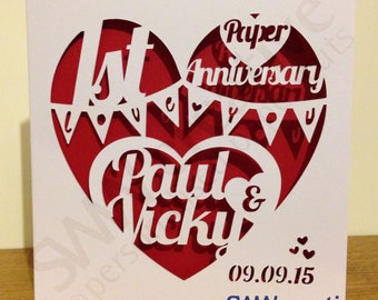 Personalised Anniversary Paper Cut Card -Designs 1 & 2  | 1st year Paper | 2nd 3rd 4th 5th 10th 15th 20th 25th 30th 35th 40th 45th 50th 60th